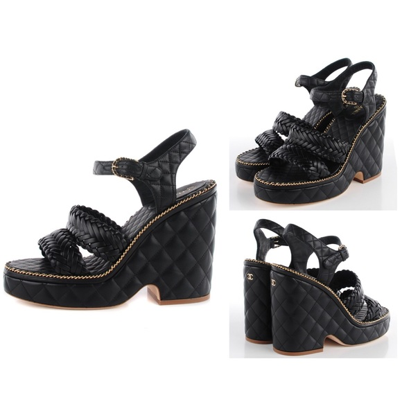 e52ee8df74fe Chanel Quilted Chain Wedge Sandals